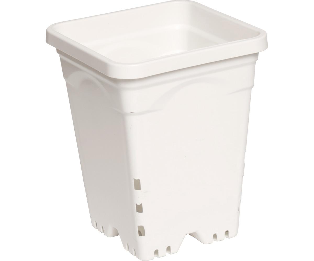 """7""""x7"""" Square White Pot, 9"""" Tall, 50 per case"""