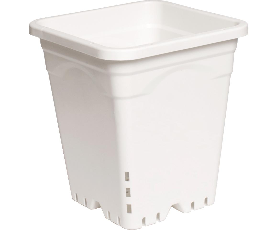 """9""""x9"""" Square White Pot, 10"""" Tall, 24 per case"""