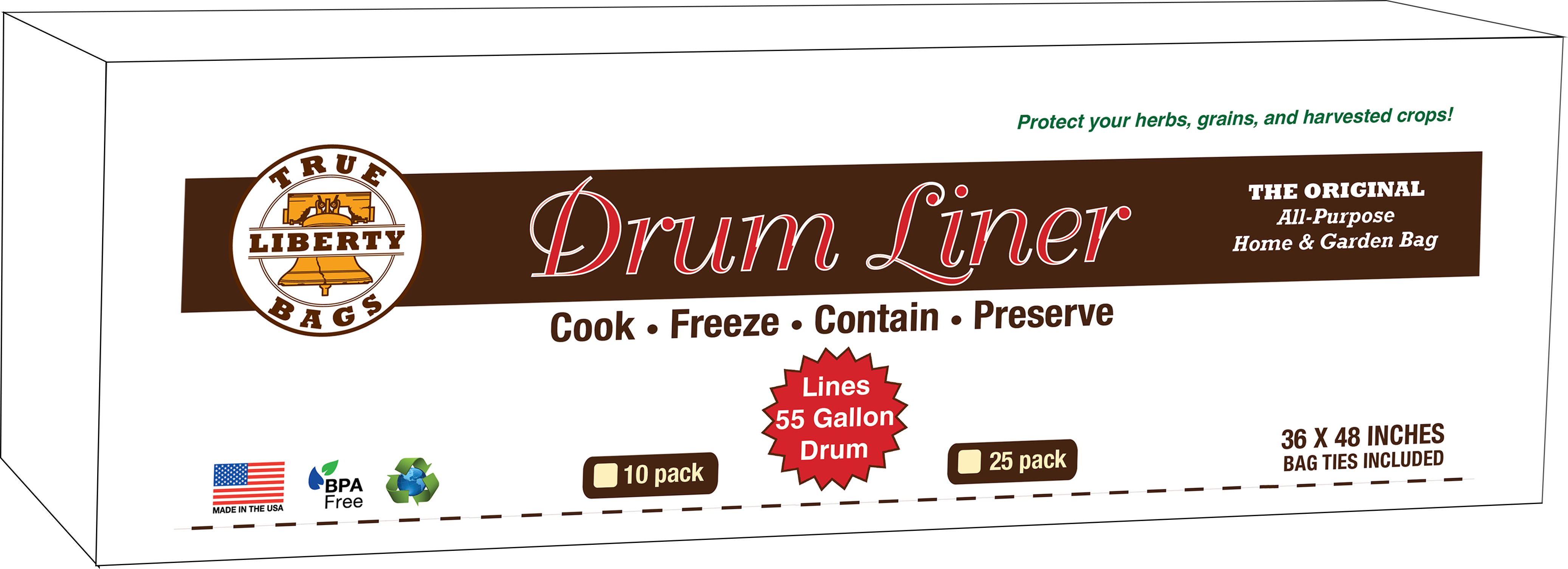"""55 Gallon Drum Liners 36"""" x 48"""" - 25 Pack"""