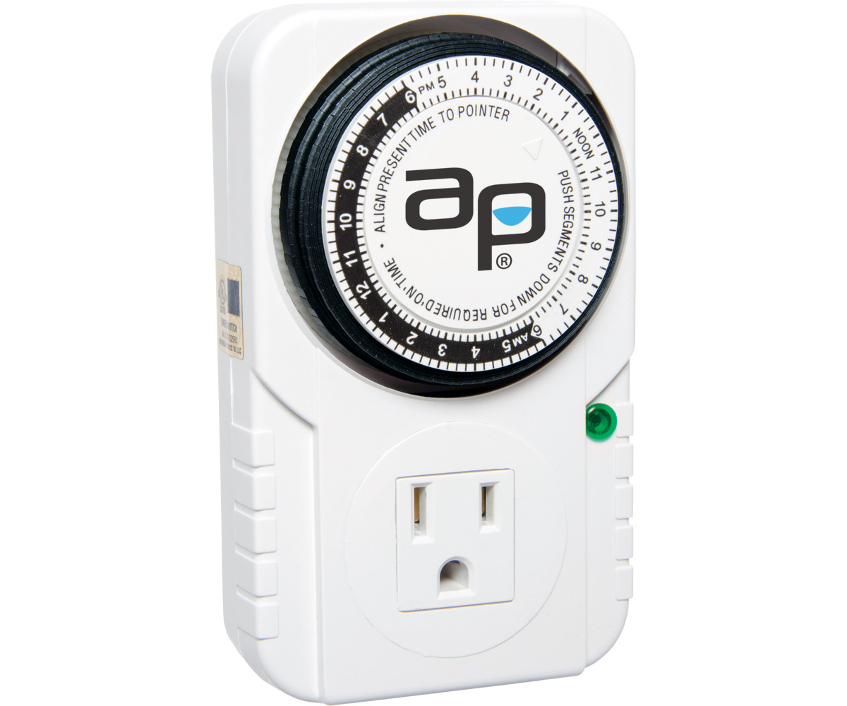 AP Analog Grounded Timer, 1875W, 15A, 15Mins On/Off, 24Hr